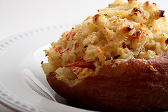 A baked potato is a very filling healthy snack