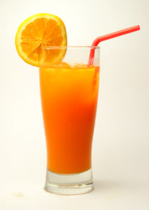 Large glass of fruit juice