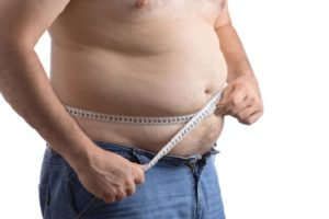 Man with high bmi and excess belly fat