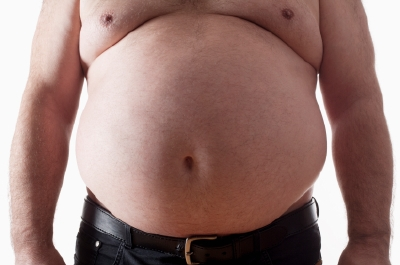 Man with large amounts of belly fat