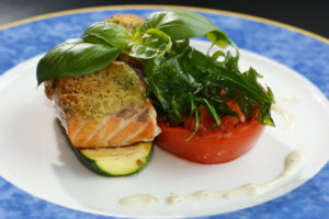 Salmon and vegetable meal