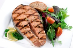 High protein salmon steak