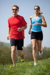 young couple enjoying their running session