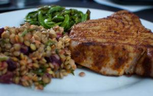 High protein tuna steak meal