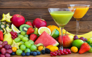 Colourful mixture of fresh fruits