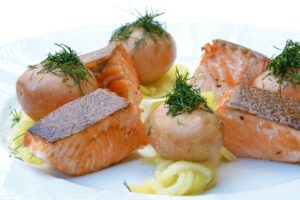 Fresh cooked salmon contain high levels of Omega-3 fatty acids